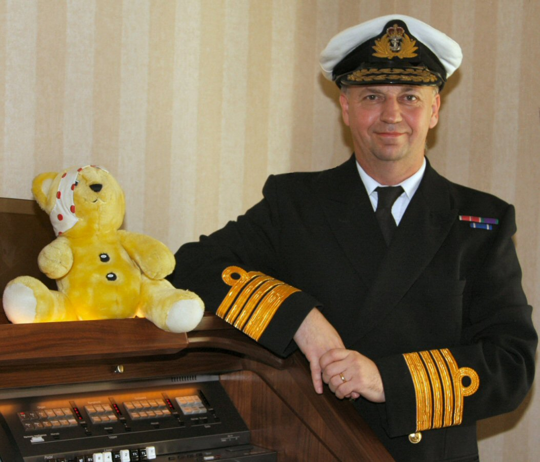 Dressed up as an admiral for children in need